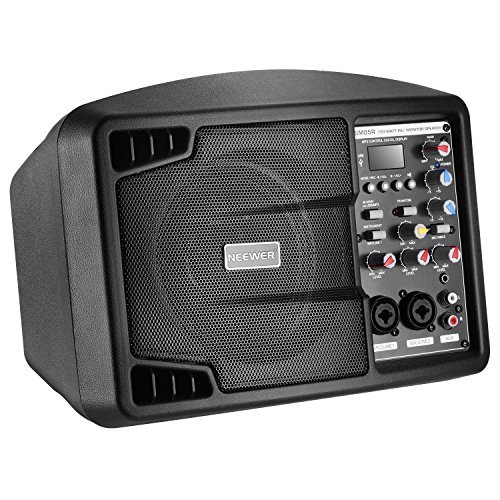 Neewer Stereo Speaker Small PA Speaker Monitor with Remote Control, 3 Channel Mixer, 2 Band EQ, Powerful Compact Active Speaker System Amp with Mixer, Lightweight and Portable, Black (NW-PSM05R) ()