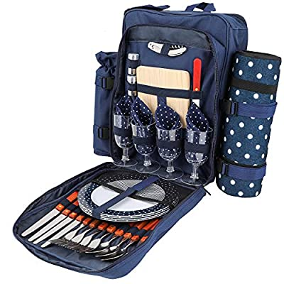 HËRDESMÄN Picnic Backpack for 4   Deluxe Family Picnic Bag with Insulated Cooler   Quality Picnic Basket Set