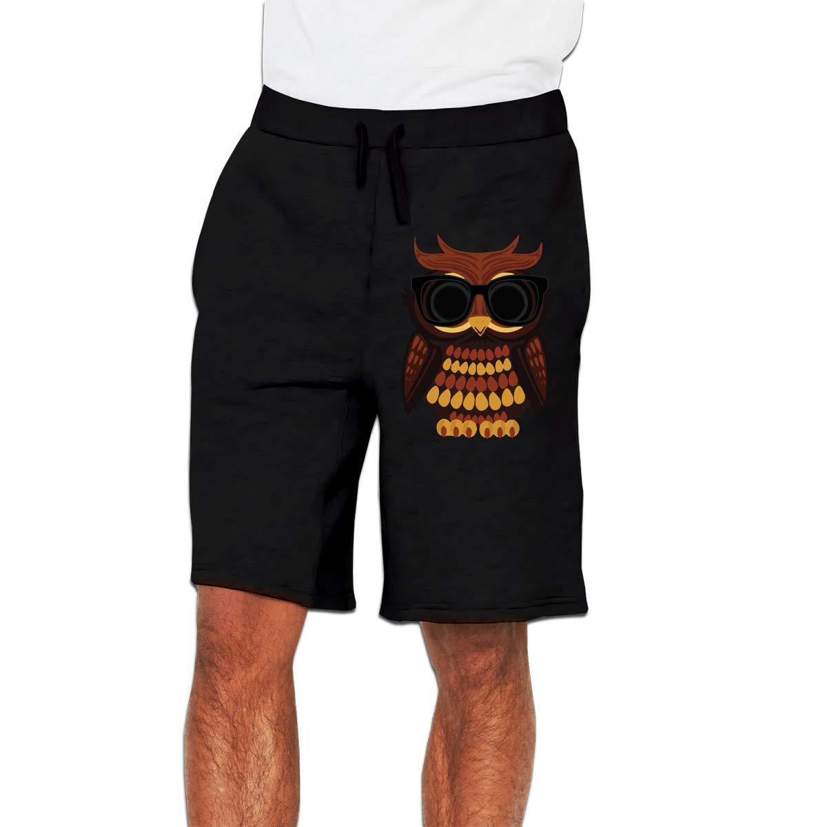 Mens Fashion Cool Owl Jogger Sweatpant Sports Gym Shorts
