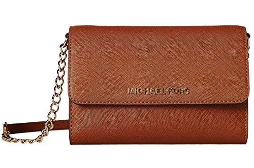 Michael Kors Womens Jet Set Travel LG Phone Crossbody Wallet Purse Luggage Brown