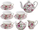 Gracie China by Coastline Imports Pink Summer Rose Chintz 11-Piece Tea Set by Gracie China by Coastline Imports