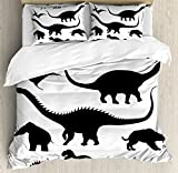 Ambesonne Dinosaur Duvet Cover Set Queen Size by, Various Black Dino Silhouettes Jurassic Evolution Extinction Predator Animals, Decorative 3 Piece Bedding Set with 2 Pillow Shams, Black White