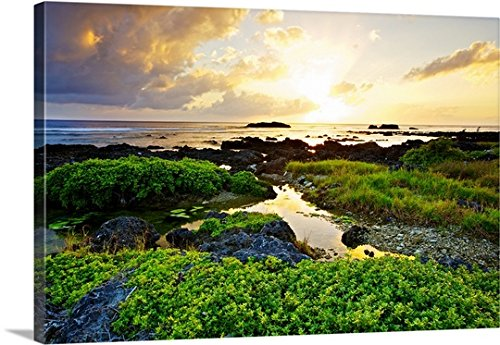 Taiwan Reef (Gallery-Wrapped Canvas entitled Sunset in Hengchuen, Pingtung, Taiwan by Great BIG Canvas 48