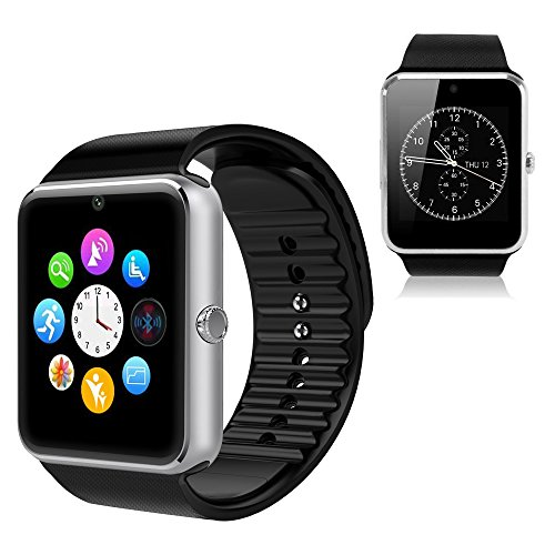 YEMON Smart Watches Bluetooth with Camera Compatible with Iphone Android That Can Text Rose Gold / Silver / Grey (Silver)