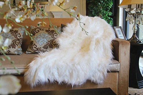 Tache High Lion Pile White Decorative Throw Super Soft Warm Faux Fur with White Fleece Back Blanket - (High Pile Throw Blanket)