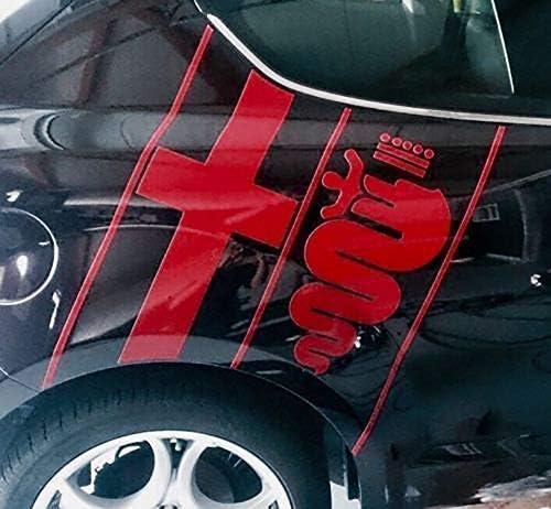 Alfa Romeo Logo Aufkleber Sticker Folie Für Seitenteil Hinten Links Und Rechts Hellrot Glanz Auto