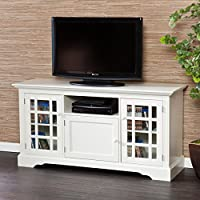 MDF Manufactured Upton Home Trevorton Off-white Finished Tv/ Media Stand with 5mm Tempered Glass (28 In. H X 55 In. W X 17.75 In. D)