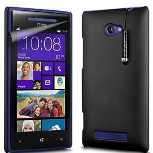 ONX3 HTC Windows Phone 8x Negro duro pieza cubierta de la funda + Negro Mini compacto con pantalla táctil Stylus Pen + LCD Protector de pantalla