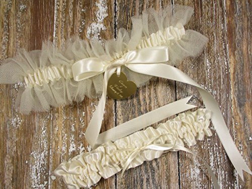 Wedding Garter Set in Ivory Tulle with a Satin Bow and Personalized Engraving ()