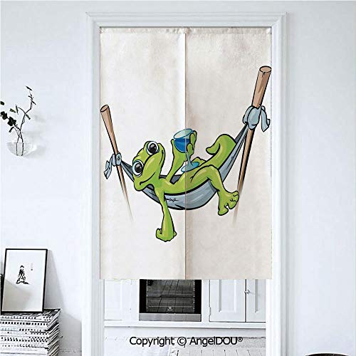 AngelDOU Reptile Summer Automatic Closing Curtains Valances Bohemian Frog Prince on Hammock with Wine Little Mascot Relax Peace in Garden Decorative Door Screen Partition Curtain. 33.5x47.2 inches