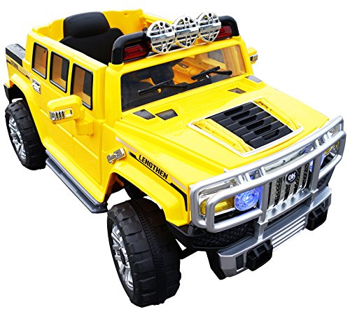 Hummer HJJ255B 12-volt MP3 Electric Battery Powered Ride On Kids Boys Girls Toy Car RC Parental Remote LED Lights Music Real Paint -Yellow - Hummer H3 Ride On