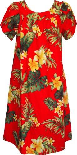 RJC Women's Tropical Summer Hibiscus Tea Length Hawaiian Muumuu House Dress Red XL