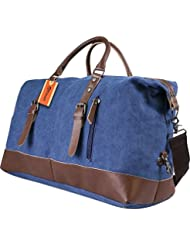 Yitrust Huge Canvas&Leather Travel Tote Duffel Luggage Bag Weekender Overnight bag