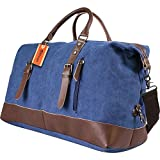 Yitrust Huge Canvas&Leather Travel Tote Duffel Luggage Bag Weekender Overnight bag (Y55-Dark Blue)