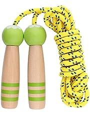 ANGTUO Springseil Kinder, Kinder einstellbar Baumwolle Seilspringen mit Cartoon Holzgriff für Jungen und Mädchen
