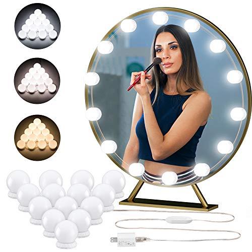 Hollywood Vanity Mirror Lights DIY LED Kit – 14 Dimmable Light Bubs Adjustable 3 Colors Mode – Lighting Fixture Strip…