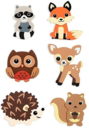 (Natural Wood Painted Woodland Creatures Cutouts- 6 Count - Hedgehog, Squirrel, Owl, Deer, Fox and Raccoon)