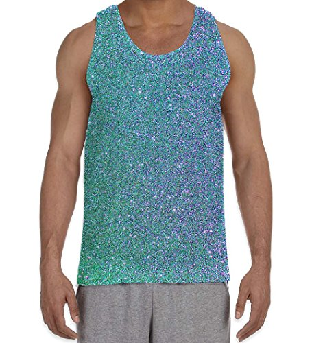 Tribal T-Shirts Shiny Glitter Effect Blue Pattern Men's All Over Print Graphic Vest Tank Top (Small, White) (Glitter Print Top)