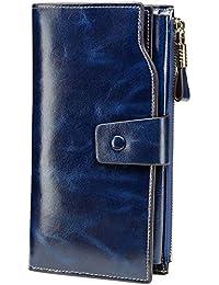Women's RFID Blocking Large Capacity Luxury Wax Genuine Leather Clutch Wallet Card Holder Organizer Ladies Purse