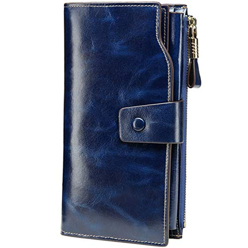 Itslife Women's Large Capacity Luxury Wax Genuine Leather Cluth Wallet Card Holder Ladies Purse (dark blue) (Best Leather Wallet Womens)