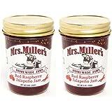 Mrs Millers Jalapeno Red Raspberry Jam (Amish Made) ~ 2 / 8 Oz. Jars