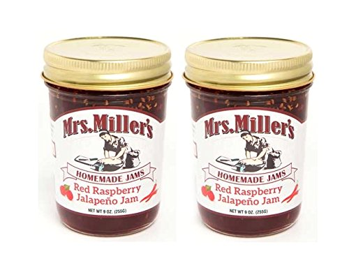 Mrs Millers Jalapeno Red Raspberry Jam (Amish Made) 9 Ounces - 2 Pack -