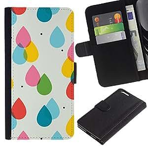 For Apple (5.5 inches!!!) iPhone 6+ Plus / 6S+ Plus Case , Rain Pink Yellow Polka Dot Summer - la tarjeta de Crédito Slots PU Funda de cuero Monedero caso cubierta de piel