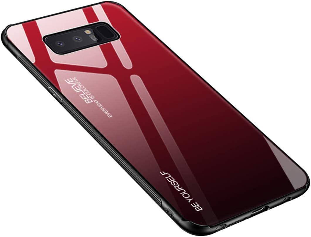 Funda Samsung Galaxy Note 8, Borde de Silicona TPU Suave Vidrio Templado Cubierta Trasera Carcasa Gradiente de Color Resistente a los Arañazos para Galaxy Note 8 (Galaxy Note 8, Rojo + negro)