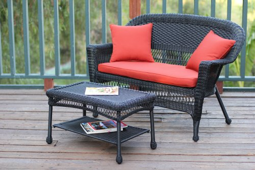 Jeco Wicker Patio Love Seat and Coffee Table Set with Red Orange Cushion, Black