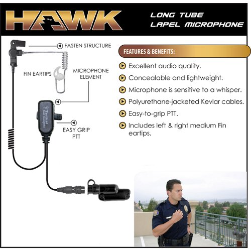 HAWK Police Lapel Microphone QR Earpiece for Vertex Standard VX-537 NYPD Radio by Tactical Ear Gadgets