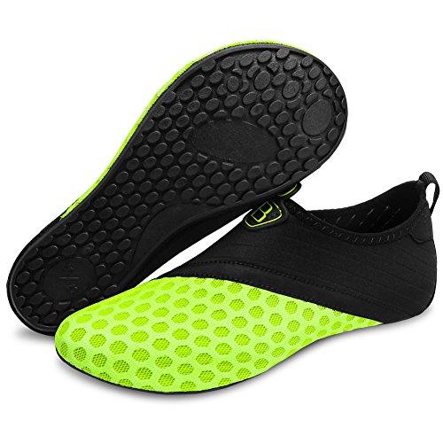 Barerun Water Shoes Mens Womens Beach Swim Shoes Quick-Dry Aqua Socks Pool Shoes for Surf Yoga Water Aerobics Yellow 12-13 US Men