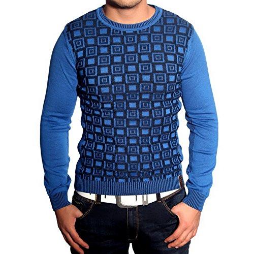 R-Neal RN-3178 Herren Pullover Karo Pulli Sweatshirt Jacke Hoodie T-Shirt Neu, Größe:XXL, Farbe:Blau