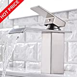 Friho Modern Commercial Brushed Nickel Single Hole Bathroom Vanity Waterfall Bathroom Sink Faucet,With Large Rectangular Spout