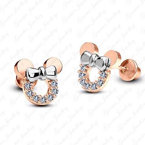 (Gemstar Jewellery Minnie Mouse Stud Earrings With White Simulated Diamond 18K Two Tone Gold Plated)