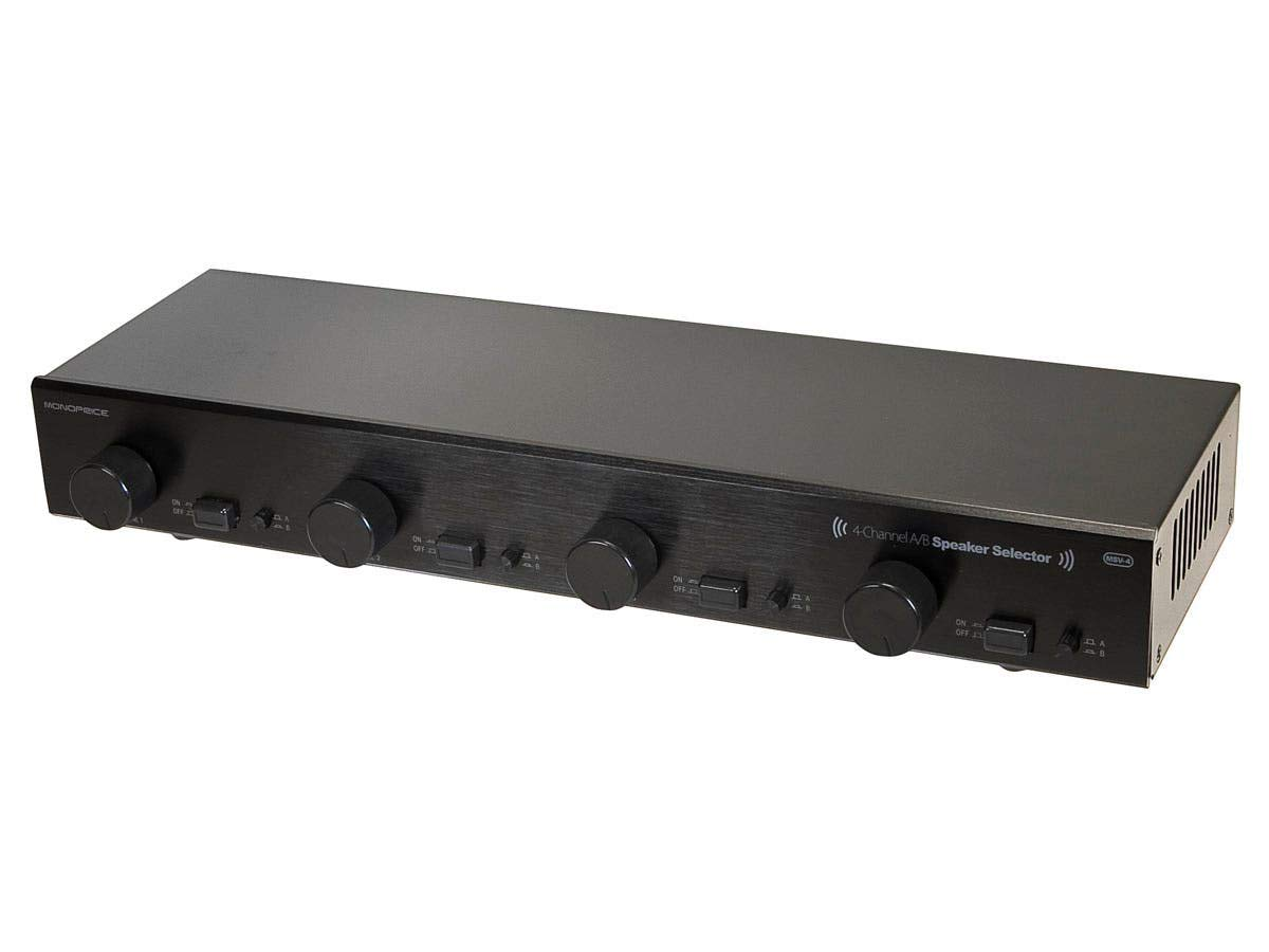 Monoprice 4-Channel A/B Speaker Selector - Black with Volume Control, 100 Watts Per Channel, Accepts Wire Gauges Up to 14AWG, Maintains 8 Ohms