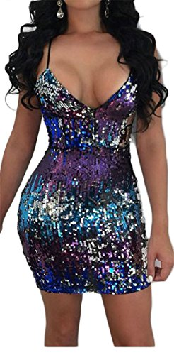 Picture Dress Backless Zip Sexy As Bodycon Club Spaghetti Strap Cromoncent Women's Sequins xwPqOzZ6