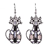 Joji Boutique Bejeweled Antiqued Silver Geometric Kitty Cat Drop Earrings,One Size