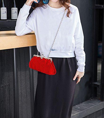 Wedding Red Purse 1 Bridesmaid Satin Clutch Flower Bag New Large Chain Design Size With For Designer Diamante ScTytq