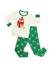 hibote Boys Girls Cotton Pyjamas Christmas Santa Nightwear Pjs Set