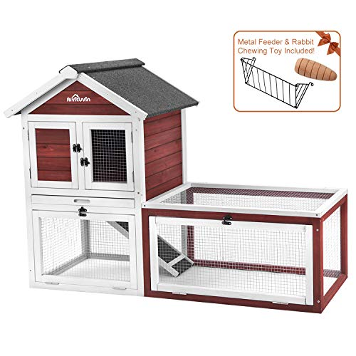 Rabbit Hutch Indoor or Outdoor - Wood Cage for Bunny/Guinea Pig with Run,Chicken Coop with Removable Tray,2 Storey