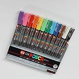 5 X Uni-posca Paint Marker Pen - Extra Fine Point - Set of 12 (PC-1M12C) by Uni