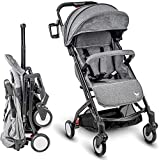 Babyroues Roll & Go Stroller, Fits in Airplane Overhead Bin, One Hand Fold, Large Extendable Canopy, One Hand Pull Handle, Lightweight & Compact, Perfect from Newborn to 4 Years