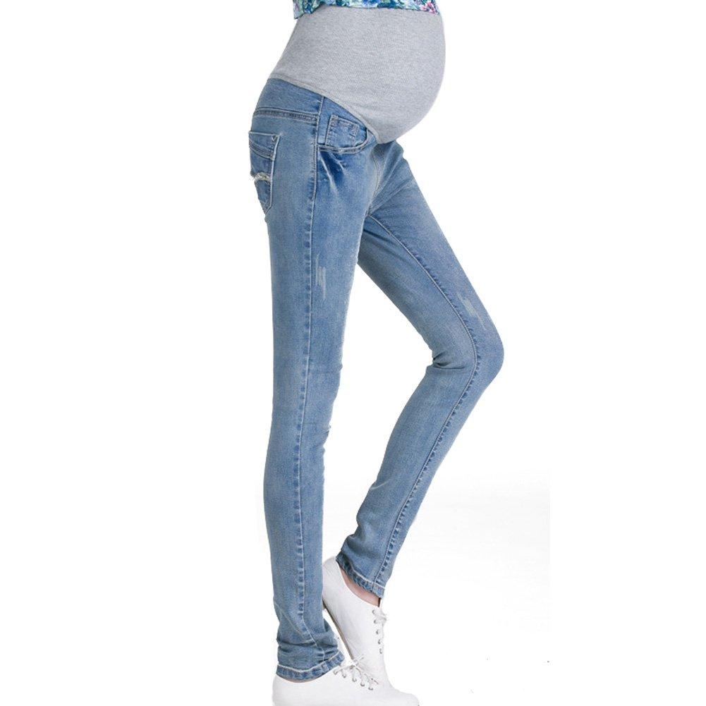 Hzjundasi Women Maternity Soft Stretchy Pants Leggings Waistband Jeans Over The Bump