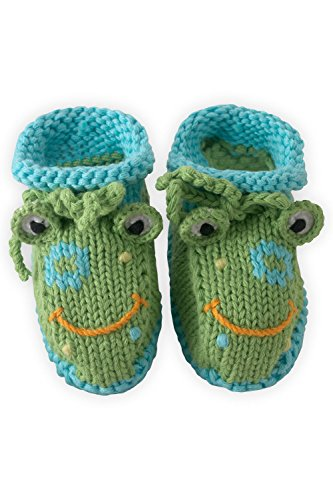 Joobles Organic Baby Booties - Flop the Frog (0-6 Months)
