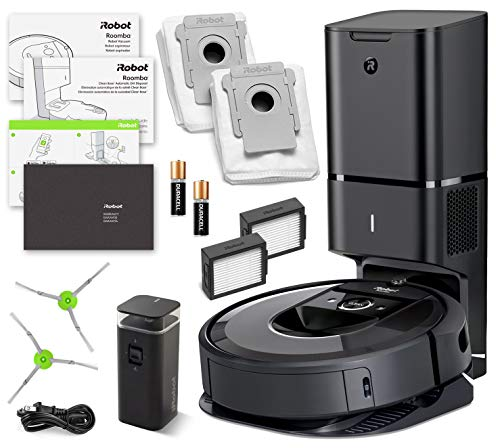 iRobot Roomba i7+ (Plus) Robotic Vacuum Cleaner with Automatic Dirt Disposal and Wi-Fi Connectivity + Manufacturer's Warranty + Extra Sidebrush Extra Filter Bundle