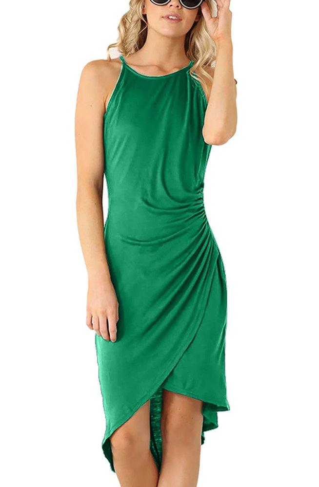 Eliacher Women's Casual Spaghetti Strap Summer Dress Bodycon Midi Party Sleeveless Dresses (S, Green) by Eliacher