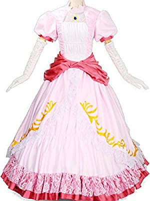 Wraith of East Princess Peach Costume Women Adult Cosplay Pink Dress
