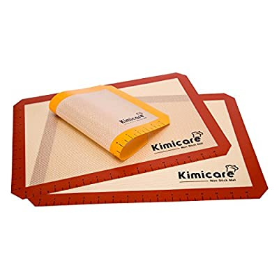 Silicone Baking Mat (Set of 3) with Measurements - 2 Standard Half Sheets, 1 Small Quarter Sheet - Non Stick Heat Resistant Liner for Bake Pans & Rolling - Professional Grade Cookie Sheets by Kimicare