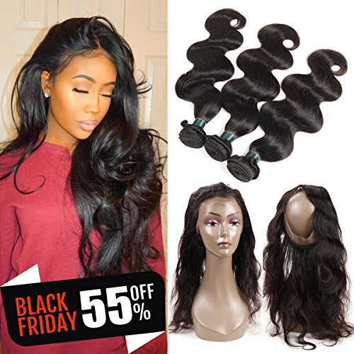 360 Lace Frontal with Bundles Pre Plucked 8A Brazilian Body Wave Bunldes with 360 Lace Frontal Closure 100% Human Hair Extensions with Frontal Closure Baby Hair (14 16 18+12 360Frontal) by Ashimary