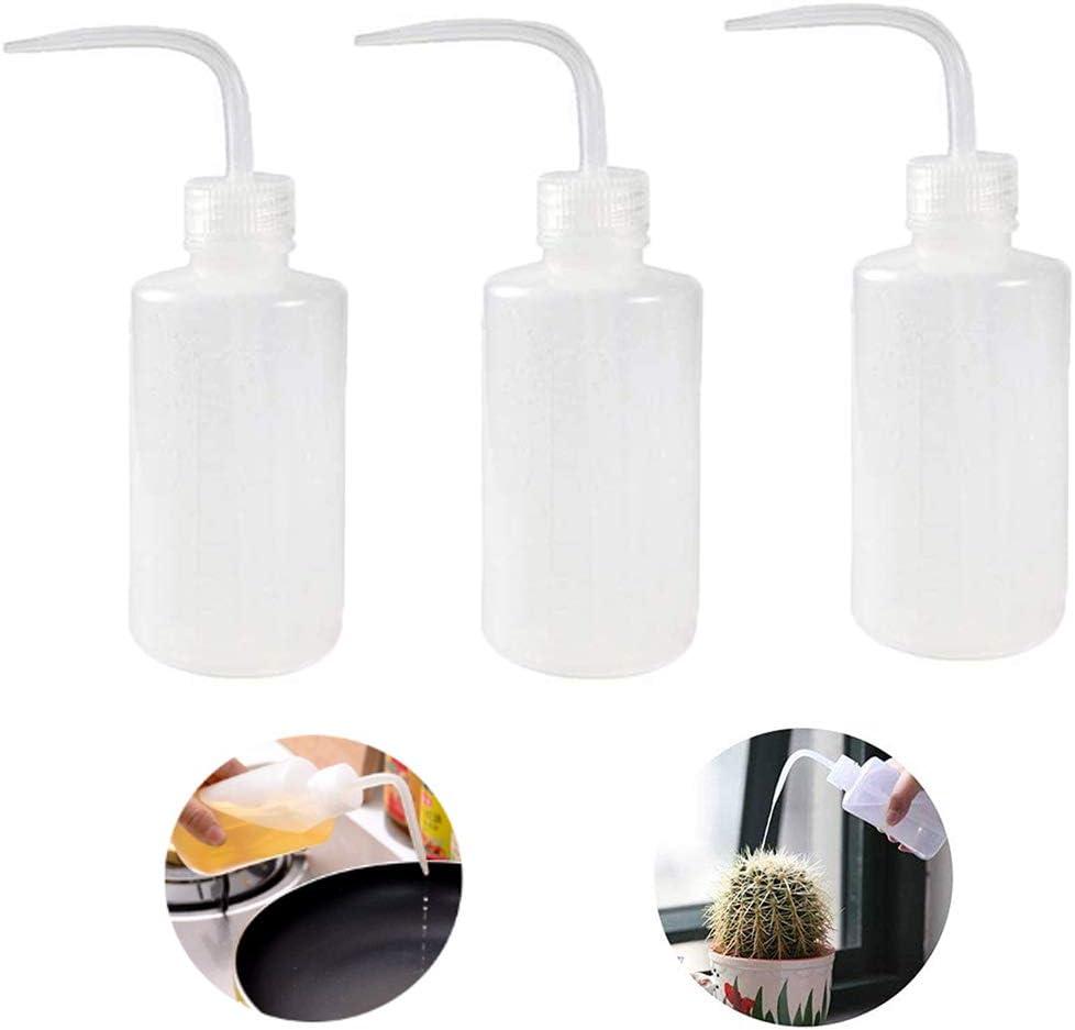 Botella de Lavado ,Eight Space Botella de CompresióN Transparente Hecha de PláStico Botellas de Laboratorio Botella De Botella De Lavado Con Cuello Estrecho para riego de plantas-3 Piezas (250ml)